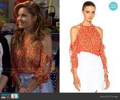 b274adc1b6 DJ s orange floral cold-shoulder top on Fuller House. Outfit Details   https  WornOnTV