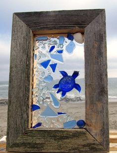 Sea Glass Turtle Mosaic - Several pieces of authentic sea glass was used to create this turtle mosaic.