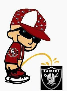 49ers peeing on raiders | Hey, how original. Calvin is peeing on the Raider's shield while ...