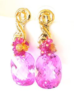 "Pink Topaz and Tourmaline Earrings ""Christy"""