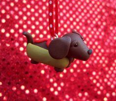 Wiener Dog Ornament by IttyBittiesForYou on Etsy