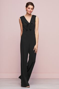 Buy Gina Bacconi Black Cleo Bow Detail Jumpsuit from the Next UK online shop Neck Pattern, Party Looks, Black Jumpsuit, Next Uk, Types Of Sleeves, Bows, Detail, Archive, Lady