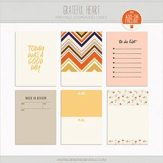 FREE GRATEFUL HEART Printable Journaling Cards | Digital Design Essentials
