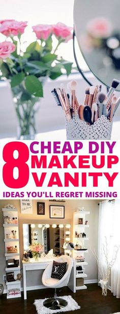 Genius ways to make your own DIY makeup vanity station. I can't wait to make my own, and get all of my makeup organized! makeup station 8 Easy DIY Makeup Vanity Ideas You Cannot Miss - Balancing Bucks Diy Makeup Organizer, Makeup Storage Hanging, Vanity Organization, Organization Ideas, Storage Ideas, Organizing, Diy Makeup Vanity Plans, Diy Vanity, Vanity Ideas