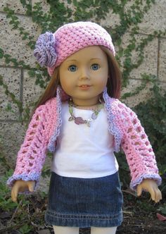 "A lovely pink and Lavender shrug and hat set for American Girl and 18"" doll Fall fashion. Made from 2 ply acrylic yarn. Durable for lots of play time. Free bonus crochet bag!"