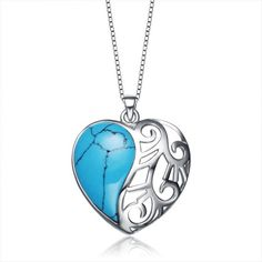 Silver heart necklaces with turquoise pendant jewelry. Star Harvest Jewelry