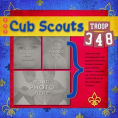 Boy Scout Scrapbook Page Layouts   Um. These Cub Scout/Boy Scout layouts are adorable!!