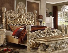 The opulent Palazzo Magnifico Collection by Homey Design brings the influence of European antiques to life with traditional carvings, detailed looping, and a gorgeous antique white finish. The hand applied finish enhances the beauty of the detailed wood. Luxury Bedroom Sets, King Bedroom Sets, Luxurious Bedrooms, Dream Bedroom, Luxury Bedding, King Bedding Sets, European Bedroom, European Home Decor, Sofa Design