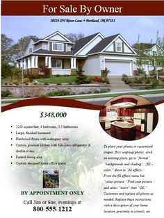 REAL ESTATE FLYER OPEN HOUSE OR FOR SALE FLYER FOR SALE BY OWNER ...