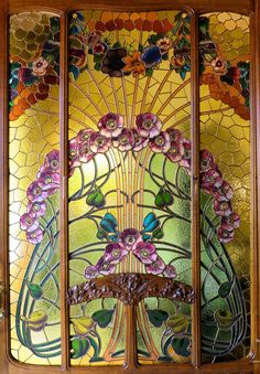 Astérie - In love with Art Nouveau - Belle Epoque - Century - The Pre-Raphaelite Brotherhood - Period Dramas and Literature Stained Glass Panels, Leaded Glass, Stained Glass Art, Mosaic Glass, Window Glass, Motif Art Deco, Art Nouveau Design, Art Nouveau Architecture, Art And Architecture