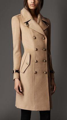 Burberry London Leather Detail Wool Cashmere Coat
