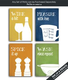 Funny Kitchen Art Print Set (Wine Glass, Measuring Cup, Spice and Collander) Set of Art Prints (Featured on Assorted Texture Colors) Kitchen Humor, Kitchen Art, Funny Kitchen, Kitchen Gallery Wall, Wine Glass, Art Prints, Unique Jewelry, Handmade Gifts, Etsy