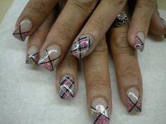 Plaid Nail Art ~~ Day 81: Hip Glitter Plaid Nail Art - - NAILS Magazine