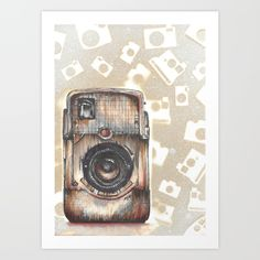 """Bullseye Camera"" Brownie Bullseye Vintage camera rendered in watercolor, ink, and spray paint stenciling #society6 #bullseyecamera #camera"