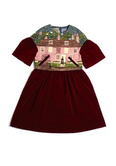 Jane Austen House Claret velveteen dress by Amanda Anne White in collaboration with Little Thing Shop