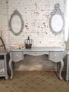 Painted Cottage Shabby Romantic Vanity/ Desk [SSDK01] - $895.00 : The Painted Cottage, Vintage Painted Furniture