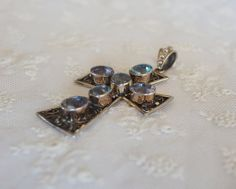 LARGE Nicky Butler Maltese Cross Pendant Sterling by gradyladies