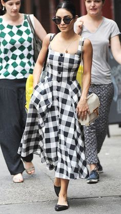 Vanessa Hudgens in a black and white gingham print dress