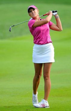 @Maureen Sullivan sneakers, white skirt. colored collared shirt. - If I ever decided to golf I'd want to look like this!
