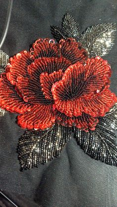 Wonderful Ribbon Embroidery Flowers by Hand Ideas. Enchanting Ribbon Embroidery Flowers by Hand Ideas. Zardosi Embroidery, Hand Embroidery Dress, Embroidery Neck Designs, Bead Embroidery Patterns, Couture Embroidery, Bead Embroidery Jewelry, Silk Ribbon Embroidery, Sequin Embroidery, Flower Embroidery