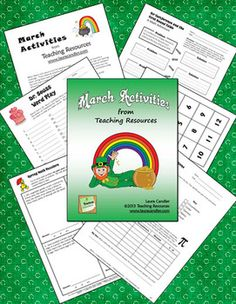 March Activities Mini Pack When March rolls around and the weather begins to warm, teaching can become a challenge. These seasonal activities will ensure that your students are on task and learning when spring fever starts to hit! In this packet you'll find two pages of directions followed by more than a dozen pages of printables for Read Across America, Pi Day, St. Patrick's Day, and Spring. You can preview the entire pack before purchasing. $