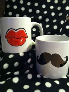 Great bridal party gifts!!  20 OZ  His and Hers Mugs, Valentines Day , Lips and Mustaches Mugs , 20 OZ Coffee Mug on Etsy, $24.00