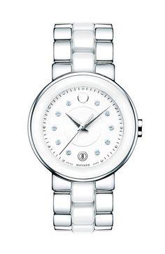 Movado'Cerena' Diamond Dial Ceramic & Steel Watch, 34mm
