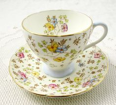 Foley Tea Cup and Saucer with Hand Painted Flowers, Vintage Bone China