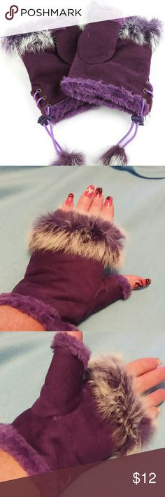 Purple faux fur hardwarmer gloves Purple faux fur  hardwarmer gloves.  Fingerless inner layer, adjustable elastic. 100% acrylic.  One size. NEW Accessories Gloves & Mittens