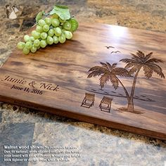 Palm and Beach Personalized Engraved Cutting Board- Wedding Gift, Anniversary Gifts, Housewarming Gift,Birthday Gift, Corporate Gift, Award, Promotion. #409 - Bridesmaid gifts (*Amazon Partner-Link)