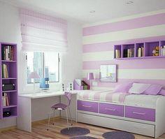 Pared y #textiles a rayas para #dormitorios juveniles.