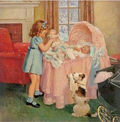 vintage illustration by F. Sands Brunner ~ showing dolly to baby Vintage Abbildungen, Images Vintage, Photo Vintage, Vintage Pictures, Vintage Cards, Vintage Postcards, Vintage Prints, Vintage Family, Art And Illustration