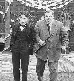 "charlespencerchaplin: "" Charlie Chaplin and Roscoe Arbuckle in Tango Tangles (1914). """