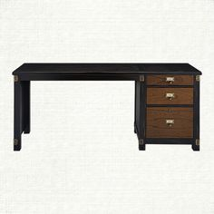 Telegraph Return Desk In Spencer Brown | Arhaus Furniture   Inspired by the 1900s, our Telegraph Office Collection is as durable as it is beautiful. Handcrafted from mindi wood, pieces are detailed with unique brass hardware and corner brackets with space for you to label each drawer. Distressed by hand for a time-worn look, features include removable trays, adjustable shelves or spacious drawers.