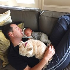 """""""God gave me the best birthday present all summed up in this pic!"""" says Samantha Busch of hubby Kyle, new son Brexton and 'daughter' Lucy all napping together on her birthday 06/01/15"""