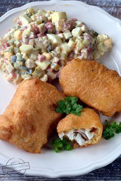 """Polędwica z dorsza w cieście piwnym z """"sosem tatarskim"""" – Smaki na talerzu Fish And Seafood, Fish Recipes, Food And Drink, Meat, Chicken, Ethnic Recipes, Kitchen, Fish, Beer"""