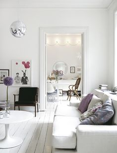 lilac and white living room