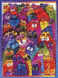 Ravensburger - Laurel Burch: World of Cats Laurel Burch, Gatos Cat, Cat Quilt, Cat Cards, Cat Colors, Canvas Pictures, Cat Design, Whimsical Art, Art Plastique