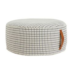 Sit On Me Pouf Round design by OYOY – BURKE DECOR ~ namely appropriately with its 25 inch width. Comfy functional pouf you can legit sit on in a nice grid pattern and leather handle. Futons, Daybeds, Pouf Design, Bed Design, Styrofoam Ball, Scandinavian Furniture, Scandinavian Style, Burke Decor, Graphic Patterns