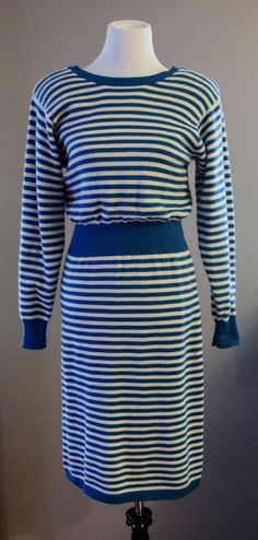 Vintage blue and white striped sweater by SecondsByJaneElaine