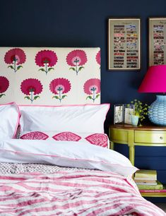 pink and blue bedroom, upholstered headboard