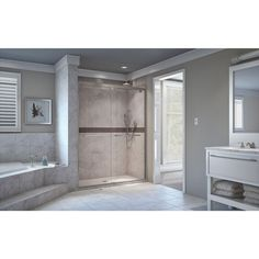 DreamLine Encore 56 in. to 60 in. x 76 in. Framed Bypass Shower Door in Brushed Nickel - SHDR-1660760-04 - The Home Depot