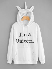 Shop Slogan Print Unicorn Ear Hoodie With Kangaroo Pocket online. SheIn offers Slogan Print Unicorn Ear Hoodie With Kangaroo Pocket & more to fit your fashionable needs. Unicorn Hoodie, Unicorn Outfit, Unicorn Clothes, Hoodie Sweatshirts, Hoodies, Geek Mode, Jugend Mode Outfits, Casual Outfits, Fashion Outfits