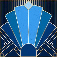 Art Deco Blue custom fabric by elysesanderson for sale on Spoonflower Art Deco Artwork, Art Deco Paintings, Art Deco Wallpaper, Art Deco Posters, Fabric Wallpaper, Art Deco Artists, Art Deco Tiles, Motif Art Deco, Art Deco Print