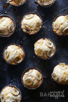 Banana Caramel Muffins - via @cookiesandcups