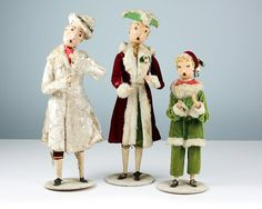 Antique Handmade Christmas Carolers Figurines from Department Store Window Display, Pittsburgh, PA - Vintage Holiday Decor / Antique Doll