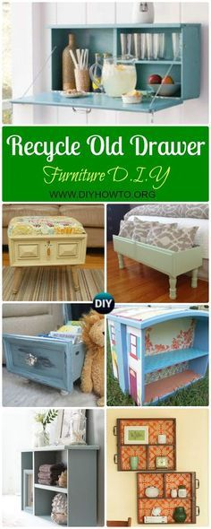 Recycle Old Drawer Furniture Ideas & Projects: A Collection of Ways to Re-purpose drawers into shelf, bookcase, doll house, pet bed and more via @diyhowto