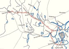 British route during the Battle of Concord and Lexington 19th April 1775: map by John Fawkes