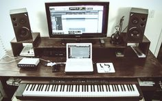 My music studio desk that I built with a friend. Comment for specs!