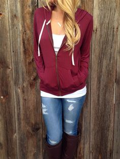 Zip front hoodie, camisole, jeans. This is all I need in my closet.